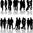 Silhouettes of group, vector work — Stock Vector