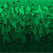 Large crowd of dancing -green - Stock Vector