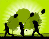 Children running with balloons - vector — Stock Vector
