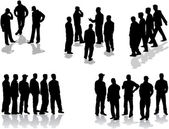Large group of man silhouettes - vector illustration — Stock Vector