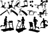 Gym equipment, made in the image vectors — Stock Vector