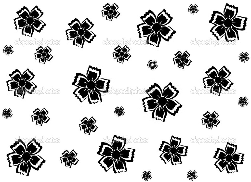 Flower Vector Black And White Black Flowers on a White