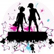 Couple children  -  grunge background - Stock Vector