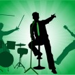 The three musicians on stage - a concert, green background — Stock Vector