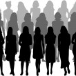 Large group of women - silhouette vector — Vettoriali Stock