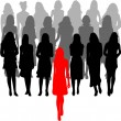 Leader - a large group of women - vector graphics — Stock Vector