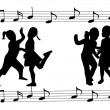 Dance-school girls silhouettes - Image vectorielle
