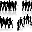 Large group of silhouettes - vector illustration — Stock Vector