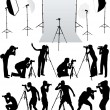 Photo accessories - studio equipment, working with vectors — Stock Vector