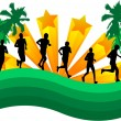 Athletes runners-abstract background with palm trees — Stock Vector