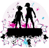 Couple children - grunge background — Stock Vector