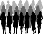 Large group of women - silhouette vector — Stock Vector