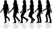 妇女达到 silhouettes — 图库矢量图片