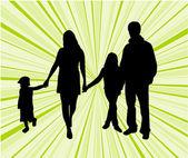 Happy family-green background — Stock Vector