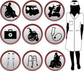 Medical Icons - silhouette of nurse — Stock Vector