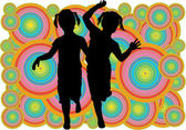Sisters, black silhouettes on colorful background — Vector de stock