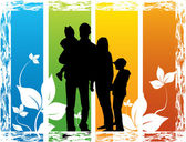 Family- floral background — Stock Vector