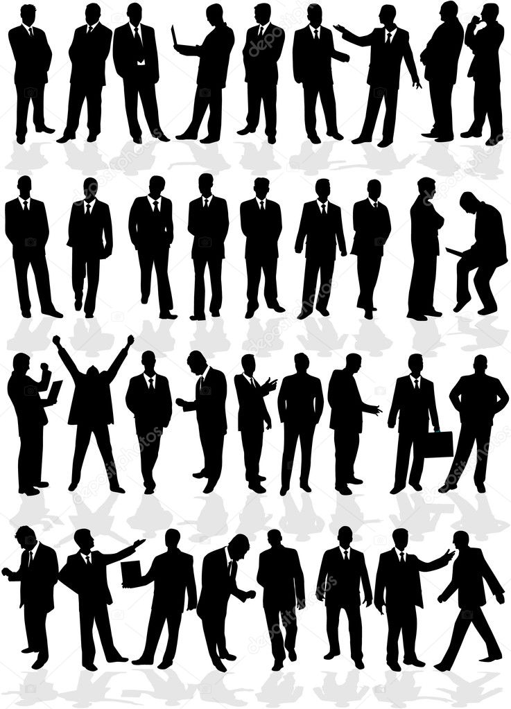 Large group of smart men - business — Stock Vector #6602718