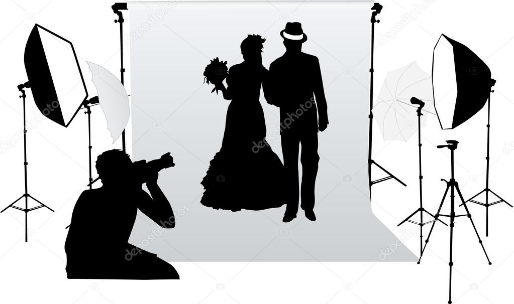 Wedding photo session in a professional studio — Stock Vector #6602883