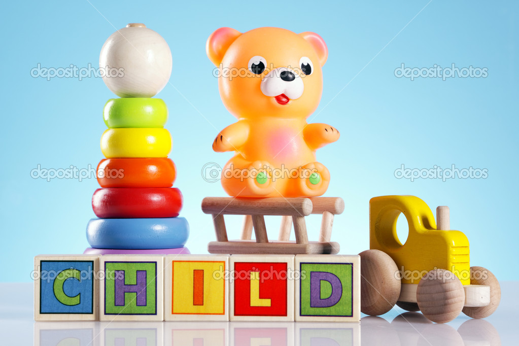 Toys for babys, bear, duck and other colorful toys — Foto de Stock   #5398251