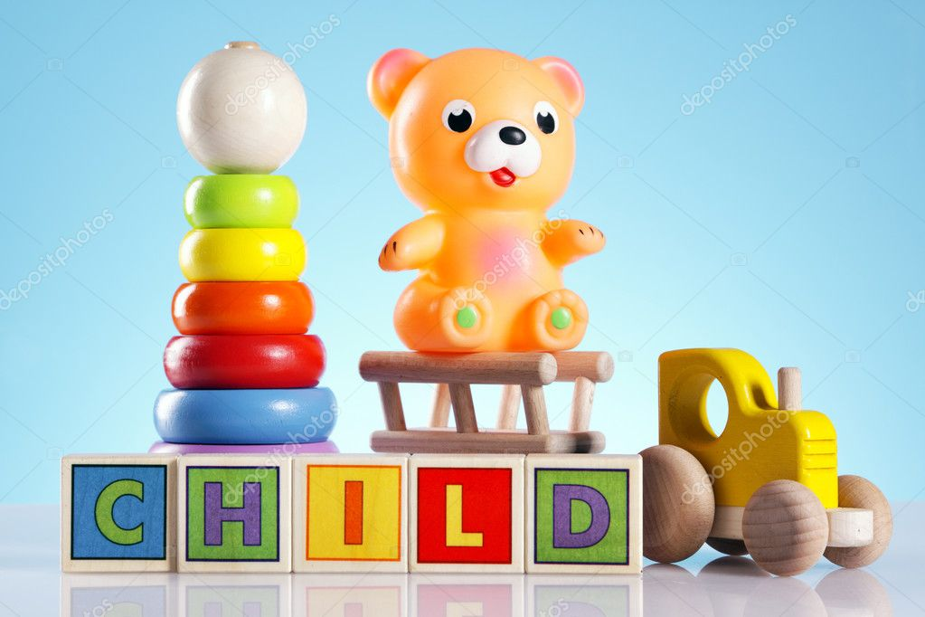 Toys for babys, bear, duck and other colorful toys — Stok fotoğraf #5398251
