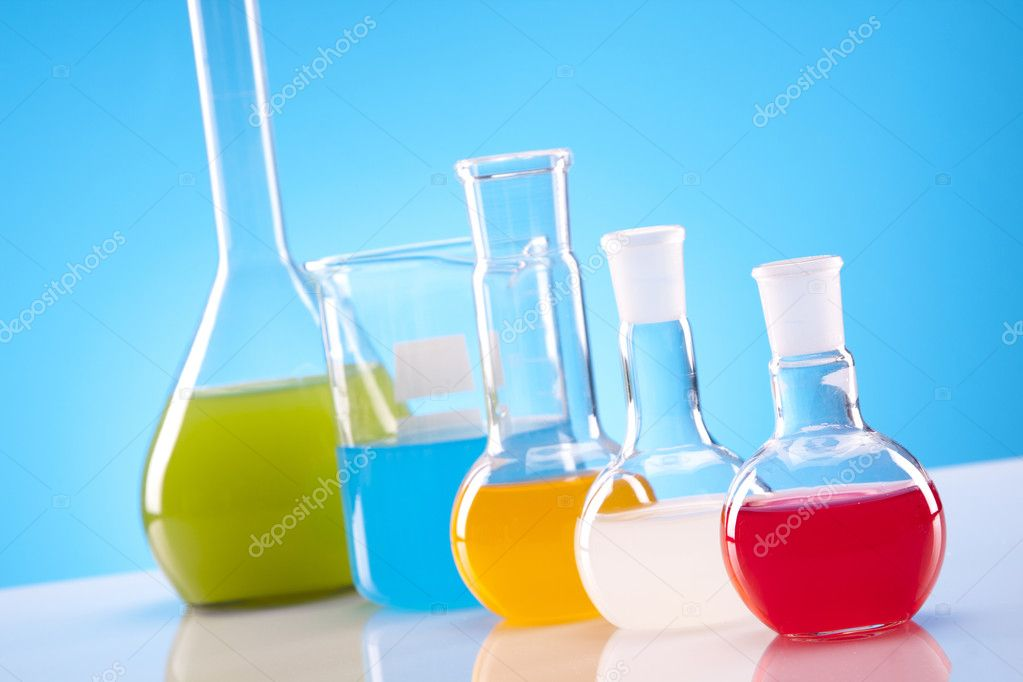 Simple chemistry equipment, flasks, colorful fluids! — Stock Photo #5773250
