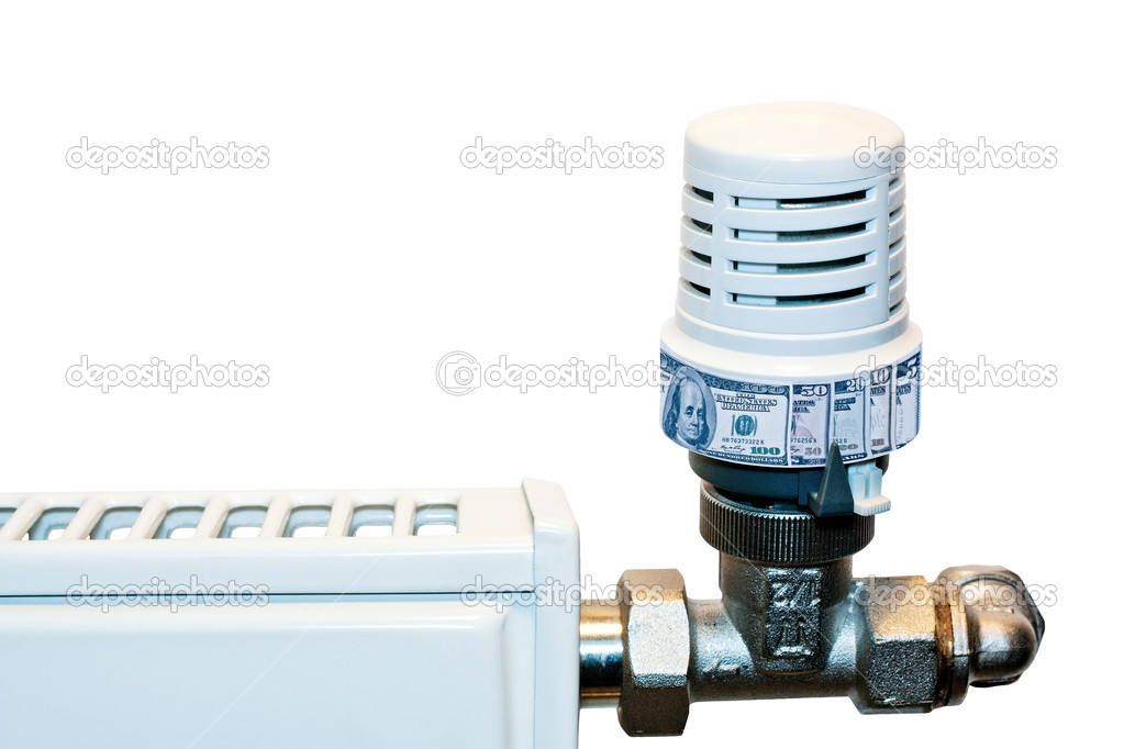 Heating radiator with a temperature regulator with denominations instead of a temperature scale — Stock Photo #5781440