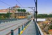 Railway track at Dom Luis Bridge in Porto, Portugal — Stock Photo