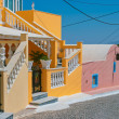 Amazing colorful old street in Santorini — Stock Photo