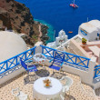 Magic terrace in Santorini with Caldera view - Stock Photo