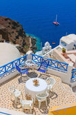 Magic terrace in Santorini with Caldera view — Stock Photo