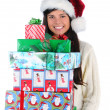 Young Woman Holding Christmas Presents — Stock Photo