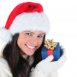 Young Woman holding Christmas Presents to face — Stock Photo