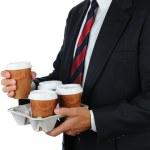 Бизнесмен с кофе лоток — Стоковое фото