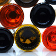 Closeup of the bottom side of wine bottles — Stock Photo #5984367