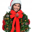 Young Woman with Christmas Present — Stockfoto