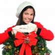Young Woman with Christmas Wreath — Stok fotoğraf
