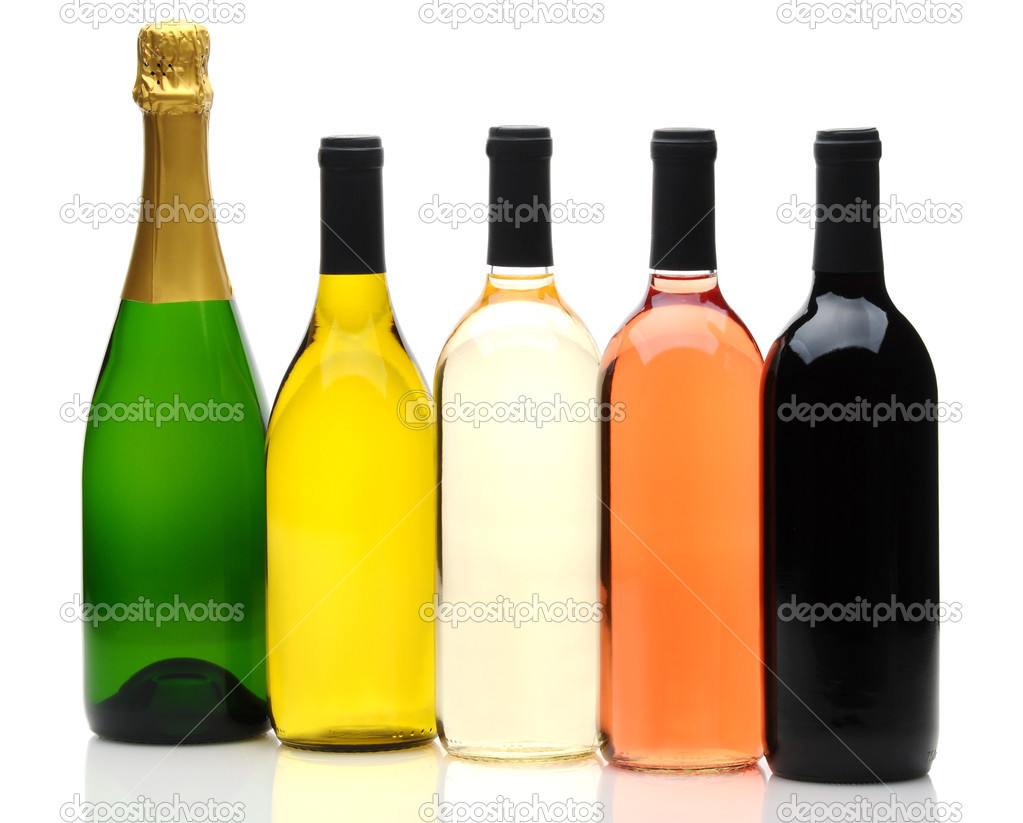 A group of five wine and champagne bottles on a white background. Bottles have no labels and reflection in foreground.  Stock Photo #6271088