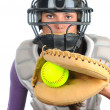 Female Softball Catcher - Stock Photo