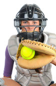Female Softball Catcher — Stock Photo
