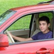 Stock Photo: New teenage driver sits in his new car