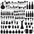 Wineware silhouettes - Stock Vector