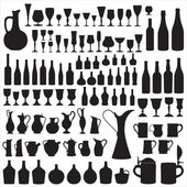 Wineware silhouettes — Stock Vector