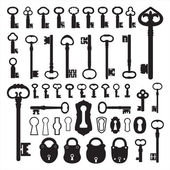 Siluety starých klíčů — Stock vektor