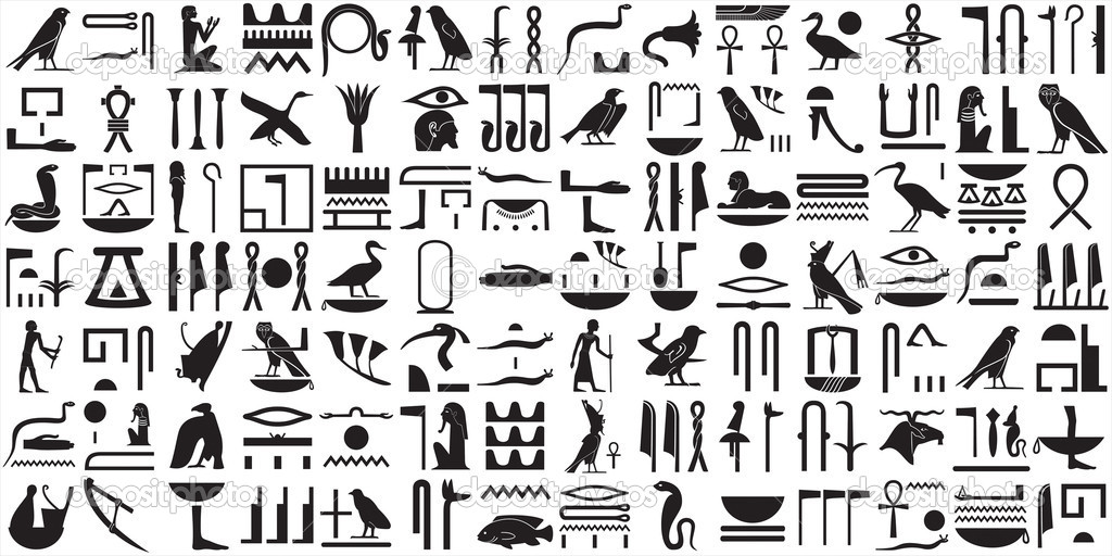 A collection of ancient Egyptian symbols.Various Egyptian hieroglyphs.  Stock Vector #5866797