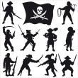 Stock Vector: Pirates crew silhouettes SET 2