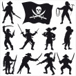 Royalty-Free Stock Vector Image: Pirates crew silhouettes SET 2
