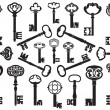 Collection of antique keys - Stock Vector