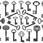 collectie van antieke toetsen — Stockvector