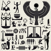 Set de señales y símbolos egipcios — Vector de stock